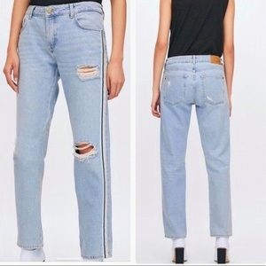 ZARA Distressed Relaxed Jeans Silver Stripe